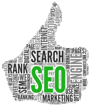 Image of a Thumbs up Hand with words and SEO letters | Symbol for online search engine optimization, page ranking and online visibility