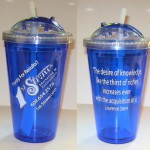 Image of Blue acrylic cup with straw   Imprinted logo design and message to customize products