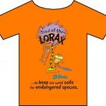 Image of Orange Tee Shirt with Cartoon Design   Licensed imprinted tee