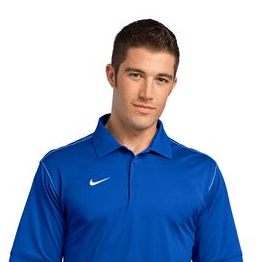 Image of a guy in a blue Nike golf shirts | custom corporate apparel