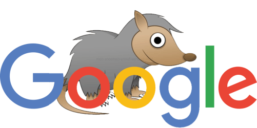 Google logo with possum cartoon