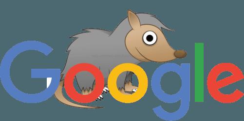 Google logo with possum cartoon